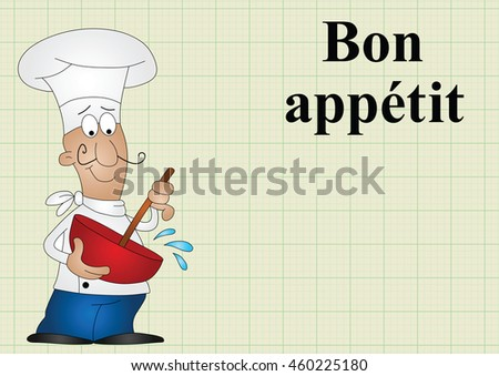 Chef with bon appetit which translates as enjoy your meal on graph paper background with copy space for own text