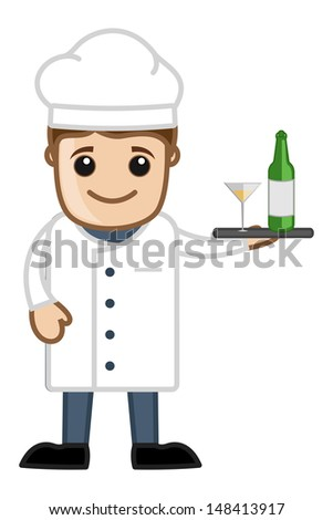 Chef with Champagne - Cartoon Business Vector Character