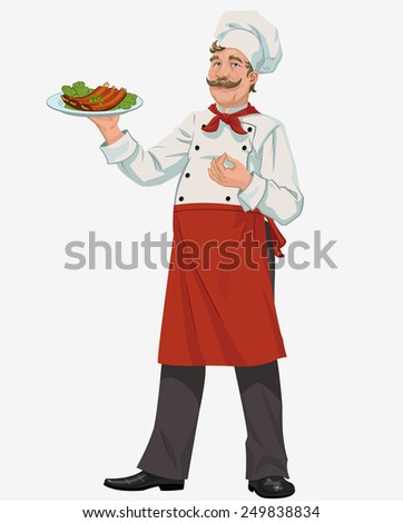 chef with cooked grill ribs - stock vector