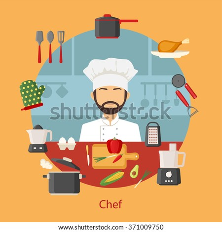 Chef with cooking appliances, tools, kitchenware and food icons. Vector flat design concept banner illustration - stock vector