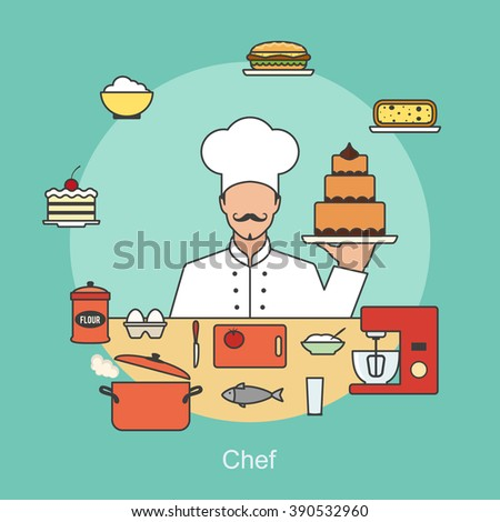 Chef with cooking objects and appliances, tools kitchenware and food icons. Vector line flat design concept banner illustration - stock vector