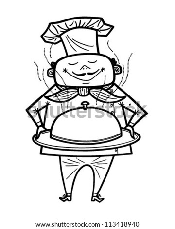 Chef With Covered Dish - Retro Clipart Illustration - stock vector