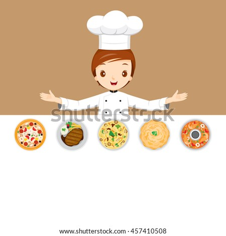 Chef With Different Menus, Cookery, Eating, Food, Seasoning  - stock vector