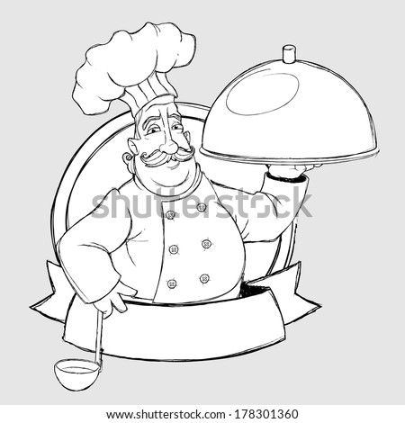 Chef with dish in the sign. Freehand drawing - stock vector