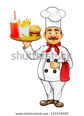 Chef with fast food products