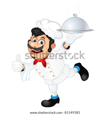 Chef with Food Serving Tray, cartoon vector illustration - stock vector