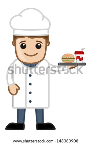 Chef with Lunch - Cartoon Business Vector Character - stock vector