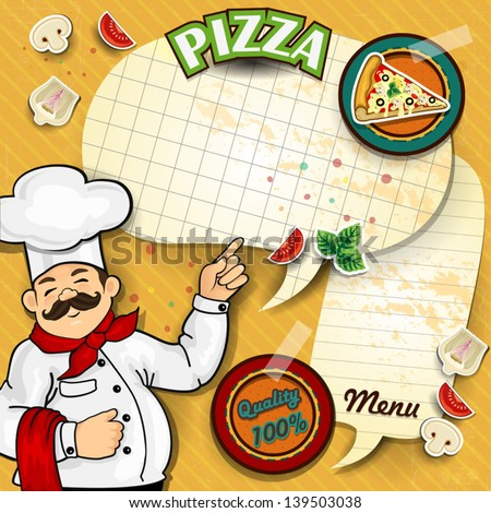 Chef with pizza cartoon comic where you can	write down the menu-transparency blending effects and gradient mesh EPS-10 - stock vector