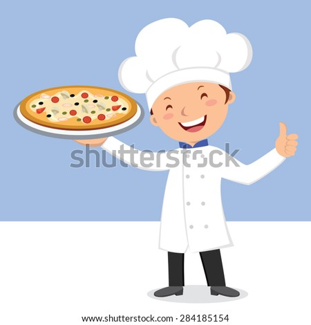Chef with pizza. Happy chef thumb up with a plate of cheese pizza. - stock vector