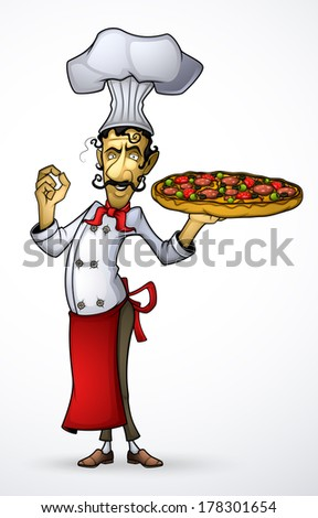 Chef with pizza in his hand - stock vector