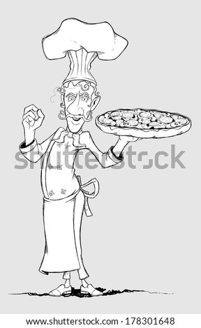 Chef with pizza in his hand. Freehand drawing - stock vector