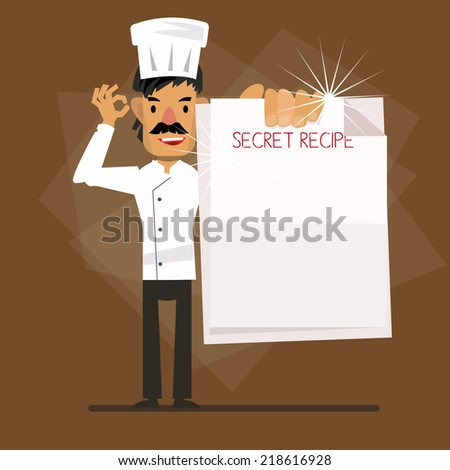 chef with recipe paper - vector illustration
