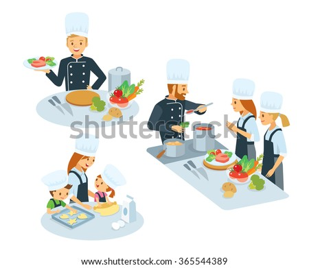 Chef With The Kitchen Appliances And Food,cooking Class, Mom With Kids  Cooking