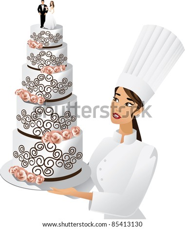 Chef with wedding cake A female chef admires her elaborate wedding cake. Cake topper bride and groom are highly detailed. EPS 8 vector. - stock vector