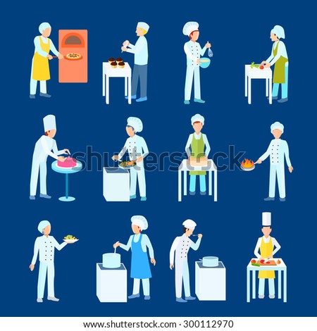 Chefs and pastry cooking process cut boil grill and blend flat color icon set isolated vector illustration   - stock vector