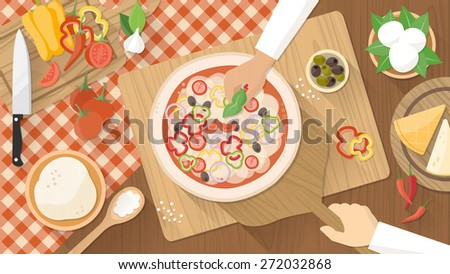 Chefs cooking a tasty traditional vegetables pizza, hands working top view with kitchen utensils, ingredients and wooden worktop - stock vector