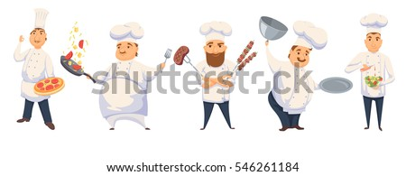 Chefs in restaurant kitchen cooking. Cute cooks in uniform preparing food in dining or hotel. Smile kitchener making Italian pizza, pasta sauce, BBQ, salad and holding empty dish. Professional master