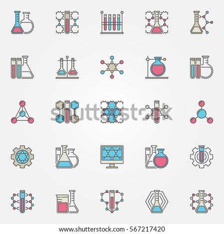 Chemical colorful icons vector chemistry formula stock vector chemical colorful icons vector chemistry formula and chemical test tubes creative signs thecheapjerseys Image collections
