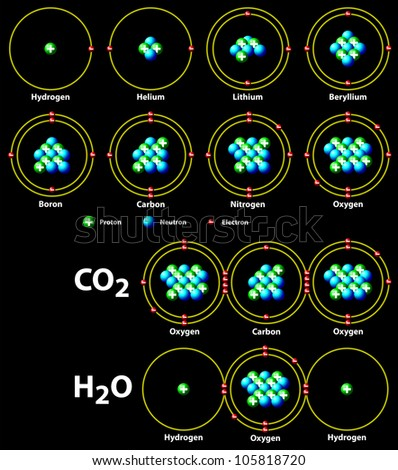 chemical covalent bonds black - stock vector