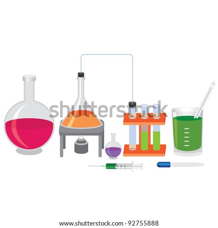Chemical experiment with fluids and tools. - stock vector