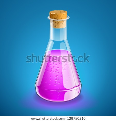 Chemical flask with magneta liquid and cork (vector) - stock vector