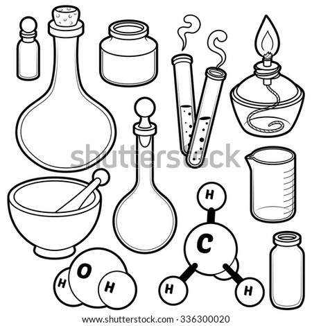 Chemical flasks. Black contour on a white background. - stock vector