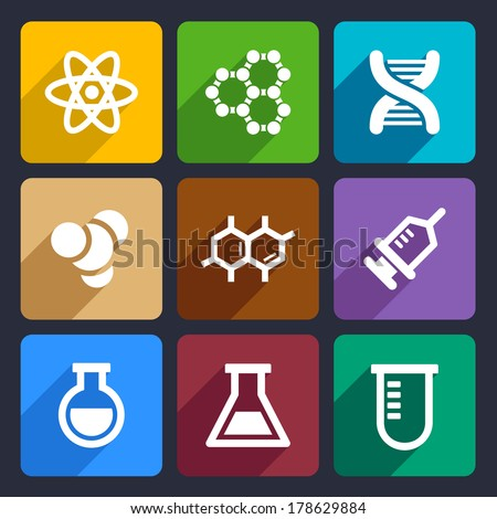 Chemical  Flat Icons Set 50 - stock vector