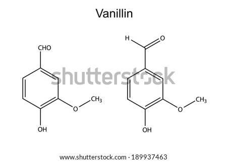 Chemical formula of vanillin molecule (flavor enhancer), 2D illustration, vector, isolated on white
