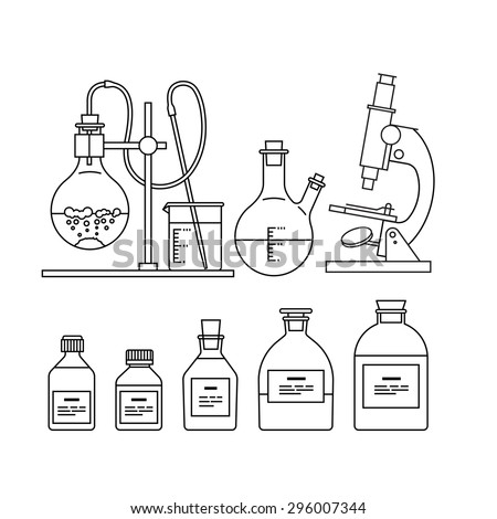 chemical glassware icons set. The test tube, beaker, flask, stand, burner and microscope - stock vector
