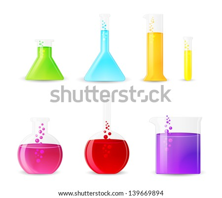 Chemical Glassware with Colorful Fluids. Laboratory Test Tubes. - stock vector