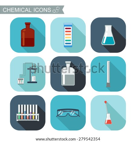 Chemical icons. Flat design with shadows. Chemical Laboratory, chemical glassware. vector illustration