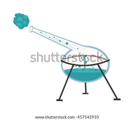 Chemical instruments and equipment. The flask with the reagent for experiments in the style of the cartoon. Vector illustration - stock vector