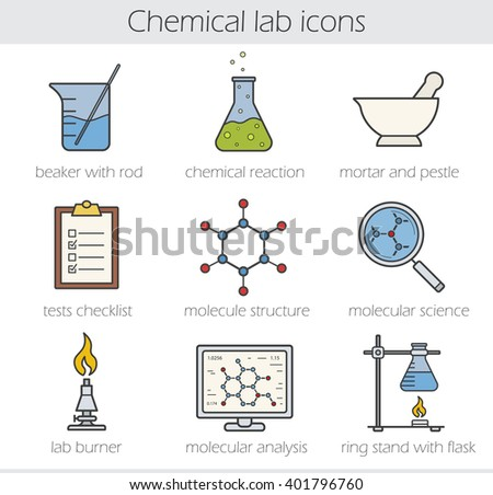 Chemical lab color icons set. Beaker with rod, chemical reaction, mortar and pestle. Tests checklist, molecule structure, lab burner, molecular science, ring stand. Vector isolated illustrations