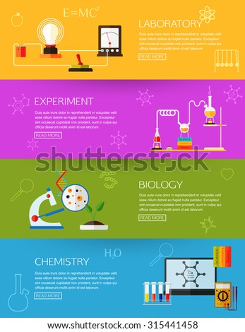 Chemical laboratory, experiment, biology, chemistry and physics  scientific research experiment. Flat style. Biology and chemistry laboratory workspace and science equipment. Four horizontal banners - stock vector