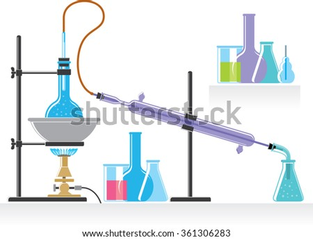 chemical laboratory experiment with liquids. chemical equipment