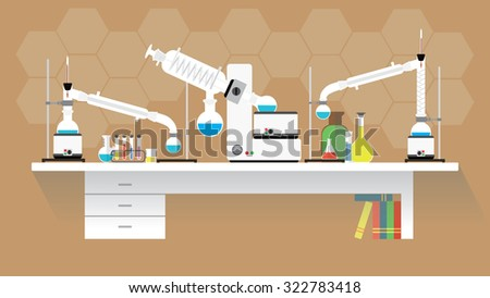 Chemical laboratory-organic research. Workplace. Flat design. vector illustration
