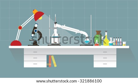 Chemical laboratory-organic. Workplace. Flat design. vector illustration - stock vector