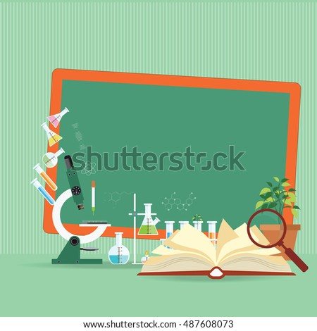 Chemical laboratory Science lesson with open book and microscope technology,Science, education, chemistry, experiment, laboratory conceptual flat design vector illustration.