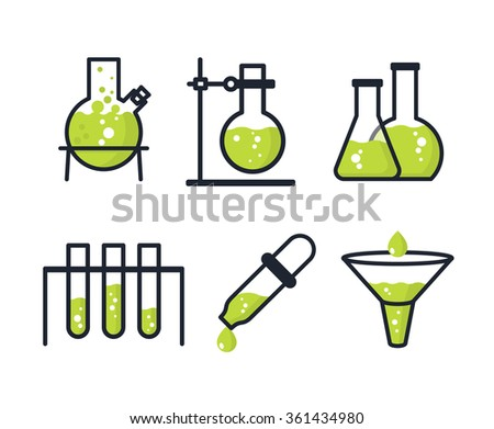 Chemical laboratory test icons - Test tubes and flasks - stock vector