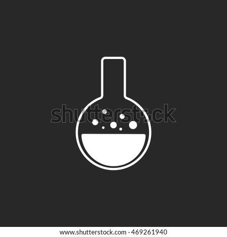 Chemical laboratory transparent flask symbol sign simple icon on background