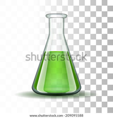 Chemical laboratory transparent flask with green liquid.  Vector illustration - stock vector