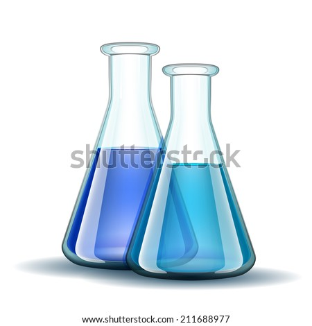 Chemical laboratory transparent flasks with blue liquid.  Vector illustration