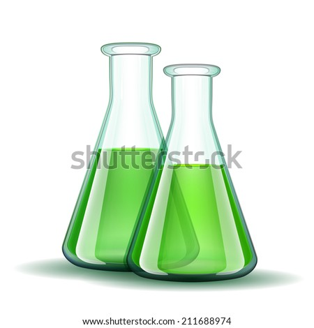 Chemical laboratory transparent flasks with green liquid.  Vector illustration