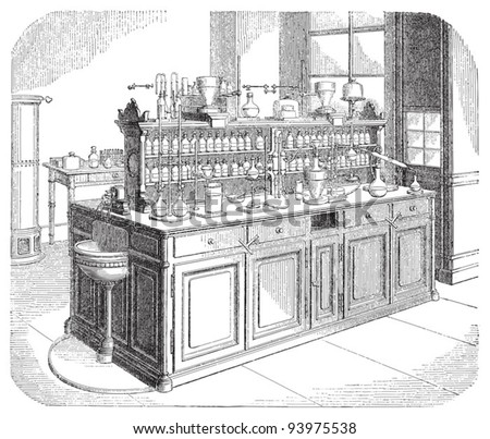 Chemical laboratory / vintage illustration from Meyers Konversations-Lexikon 1897 - stock vector