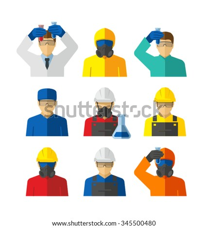 Chemical Laboratory Workers Vector  - stock vector
