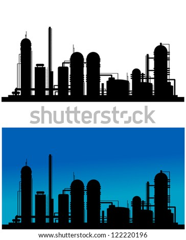 Chemical or refinery plant silhouette for industrial design. Jpeg version also available in gallery