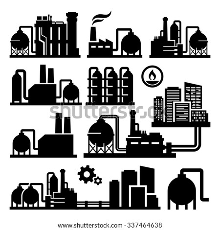 Chemical Plant Factory vector icon  - stock vector