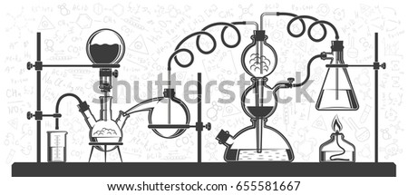 Chemical Reaction Consisting Of Flasks And Hoses In A Scientific Laboratory Vector Black White