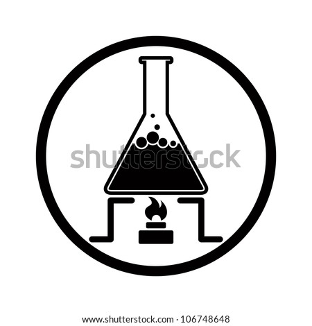 Chemical reaction symbol with flask and fire, monochrome vector icon. - stock vector