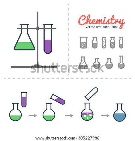 Chemical test tube icons set with laboratory tripod and illustration of process chemical reaction. Chemical lab equipment isolated on white.  - stock vector